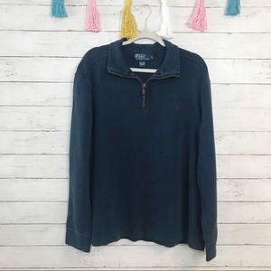 Polo Ralph Lauren Navy Quarter Zip Sweater Large